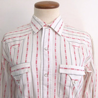 60s 70s tem-tex shirt - vintage striped geometric pattern white red pearl snap extra long tails long sleeve collared western unisex top