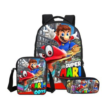 Super Mario party nes switch VEEVANV Brand 3Pc/Set School Bag For Boys Girls Fashion Cartoon  Printing School Bag Kids Bookbag Casual Shoulder Bag AT_80_8