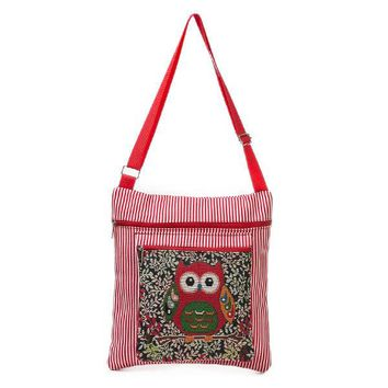 Linen Casual Owl Pattern Shoulder Bag Crossbody Bags