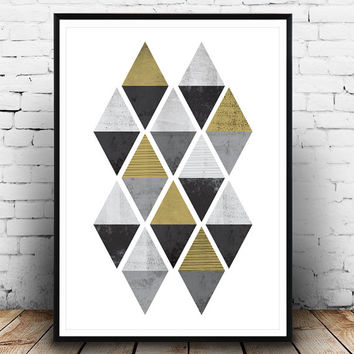 Abstract pattern print, Triangles poster, Gold decal, Watercolor art, Minimalist wall art, Scandinavian design, Home decor, Black and white