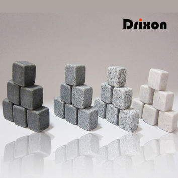 Drixon (6/9pc Set) 100% Natural Whiskey Stones Sipping Ice Cube Whisky Stone Whisky Rock Cooler Wedding Gift Favor Christmas Bar