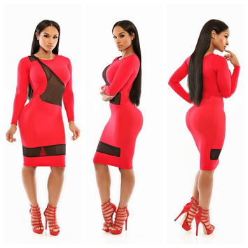 Red Long Sleeve with Mesh Cut-Out Bodycon Dress