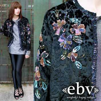 Vintage 80s Black Velvet Sequin Beaded Burnout Gypsy Jacket Cardigan S M