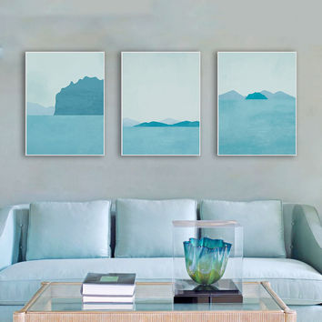 NEW Modern Abstract Landscape Canvas A4 Art Print Poster Blue Beach Wall Pictures Living Room Home Decor Paintings No Frame