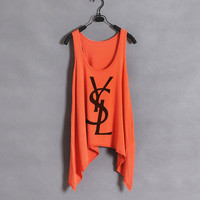 Classic YSL  Women Tank Top  Orange  Sides Drop by zzzAfternoon