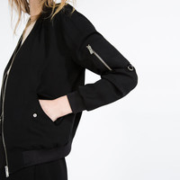 FLOWING ZIPPED BOMBER JACKET