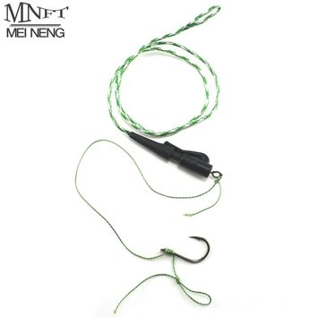 MNFT 1 Hand Made Carp Fishing Ready Lead Core Fishing Line Tied Hair Rigs Leader Braided Coarse Feeder Barbed Hook Size 7# -12#