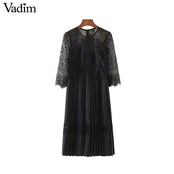 Vadim women sexy lace patchwork chiffon midi dress