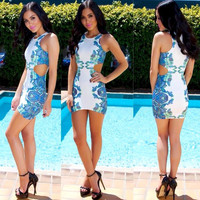 Printed Sleeveless Cutout Mini Bodycon Dress