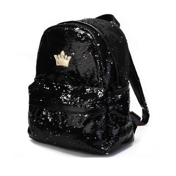 Womens Fashion Cute Girls Sequins Backpack Paillette Leisure School Bookbags Leather Backpack Ladies School Bags For Teenagers