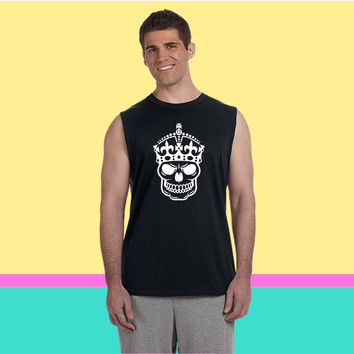 Keep Calm Skull Crown (2) Sleeveless T-shirt