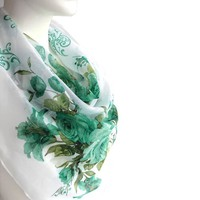 BUY ANY 3 GET 1 OF THEM FREE, large cotton scarf, large square scarf, pale green scarf, light soft scarf, summer scarf, green flowers scarf, turquoise shawl blanket scarf