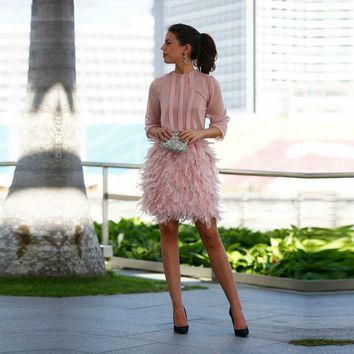 Charming Feather Cocktail Dress 2016 Pink Short Mini 2 Pieces Lady's Party Gowns Middle East Africa Vestido De Noiva Prom Gown