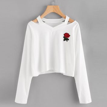 Fashion Spring Womens Shirts Long Sleeve Off Shoulder Sweatshirt Rose Print Causal Tops Blusa V Neck Jumper Pullover sweatshirt