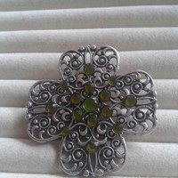 Closing sale - green crystal clover  hollow filigree brooch pin