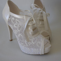 FREE SHIPPING Lace wedding shoe designed specially. #8445