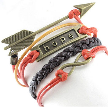 Retro Cool Multi Layered Red, Yellow & Dark Brown Braid Friendship Bracelet with Bronze Infinity, Hope and Arrow Charms 5 strands Women's