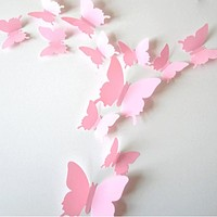 12pcs/set 3D Butterfly Wall Stickers Self-adhesive PVC Home Wall Decoration for Party Wedding