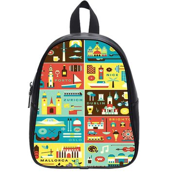 World Map Icon School Backpack Large