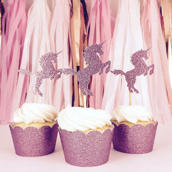 Unicorn Cupcake Toppers - Pink Glitter - Party Supplies // Wedding Decorations // Birthday Party