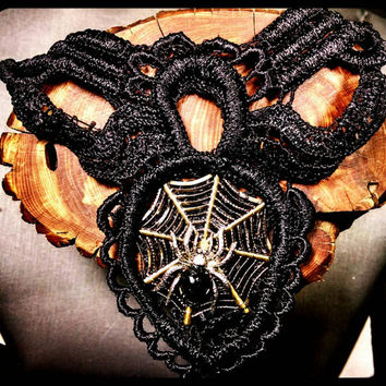 Handmade Black Lace Bronze Spiderweb with Black or Red Spider Choker Gothic Necklace Halloween Jewelry