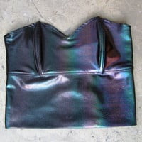 ROJAS hologram black prism bustier..corset tube top bra holographic rainbow bustiers