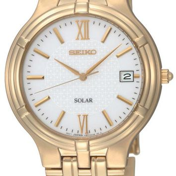 Seiko SNE030 Men's Gold Tone White Dial Solar Powered Watch