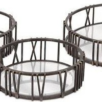 Roman Time Mirror Tray Wall Décor - Set of 3