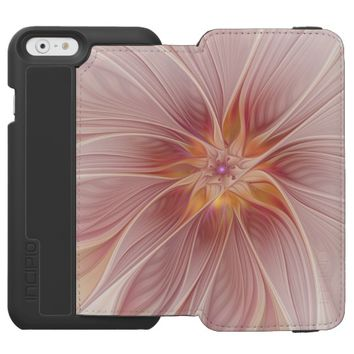 Soft Pink Floral Dream Abstract Modern Flower iPhone 6/6s Wallet Case