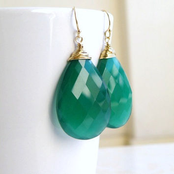 Emerald Green Onyx Earrings Gold Filled Valentines Pantone Bridesmaid Jewelry Wedding Jewelry