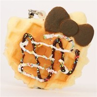 Hello Kitty waffle brown bow squishy charm