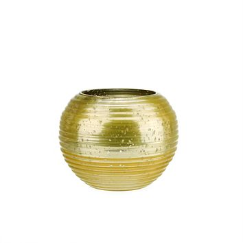 """Set of 4 Yellow and Silver Horizontal Ribbed Mercury Glass Decorative Votive Candle Holders 3.25"""""""