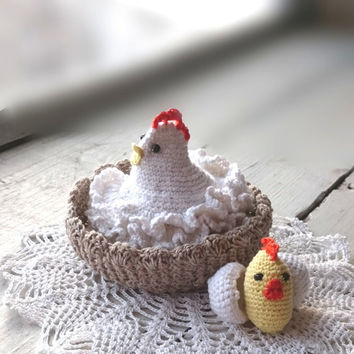 Crochet Chicken with egg Amigurumi chicken Easter decoration Kitchen Table Decoration