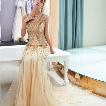 Prom Dresses Gold Mermaid Sequined Beaded Sexy Tulle Evening