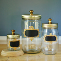 Set of Three Mason Jar Storage Canisters for Kitchen, with Chalkboard Labels with Gold Frames