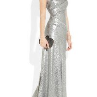 Donna Karan One-shoulder sequined stretch-mesh gown – 59% at THE OUTNET.COM