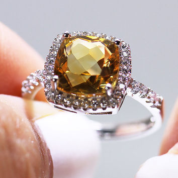 SALE: 25% Off - Citrine Ring - 925 Sterling Silver - Cushion Cut - Cubic Zirconia Diamond Halo - Yellow Quartz - Adjustable