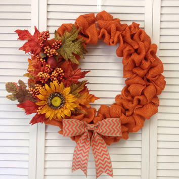 "Fall Wreath, 18"" Fall Orange Burlap Wreath with Fall Floral Decor"