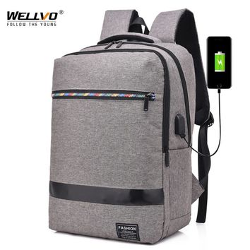 Wellvo Men's Canvas Waterproof Backpack USB Charging School Bags For Male Multifunctional Rainbow Zipper Laptop Backpack XA116WC