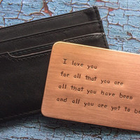 Wallet Insert Card Hand Stamped Copper Personalized Mens Gift - Husband Boyfriend 7 Seven Year Anniversary