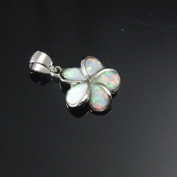 INLAY OPAL 12MM HAWAIIAN PLUMERIA FLOWER PENDANT SILVER 925