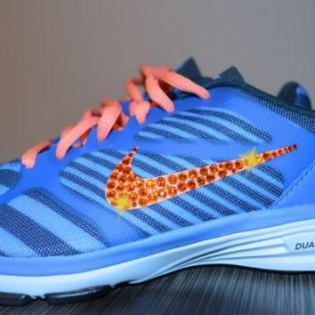 New Women's Nike Dual Fusion TR Print Running Jogging Shoes Customized With Orange Swa