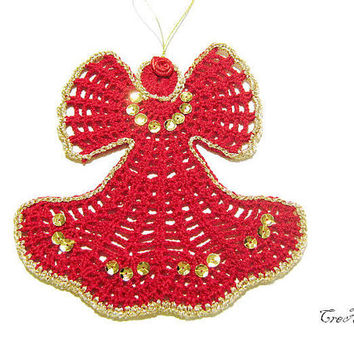Crochet Christmas Angel, Hanging Christmas ornaments, Red crochet angel, Christmas tree decoration, Natale (Cod. 75)