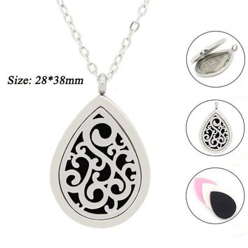 316L Stainless Steel cirrus Essential Oil Diffusing Perfume momery Pendant Floating Locket (free 10pcs felt pads per piece)