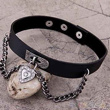 Heart Dangle Pendant Chain Punk Goth Leather Necklace Collar Choker = 1932175812