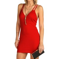 Sale-red Double X-back Bodycon Dress