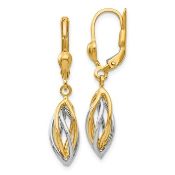 14k Yellow and White Gold Two-Tone Polished Dangle Leverback Earrings Length 32mm