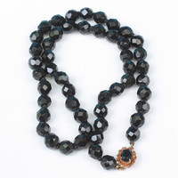 Faceted Black Glass Bead Necklace 19 Inches Fancy Clasp