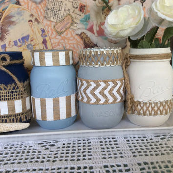 Painted Mason Jars set of 4 Wedding Centerpieces, Flower Vases, Ball Jars, Rehearsal Dinner, Bridal Shower Nautical Beach Coastal Decor