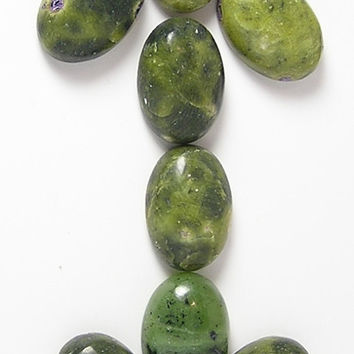 "8 Serpentine ""new jade"" and rare Stichtite Calibrated Flat Back Cabochons, oval natural semiprecious gems 10x14 mm, Green and Purple stones"